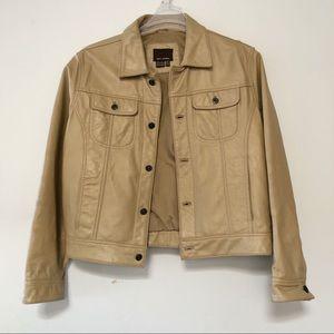 Zara Vintage look real leather jacket in beige